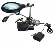Лупа настольная 2.5x/7.5x/10x третья рука с держателем и подсветкой (5 LED) Kromatech MG16129-С