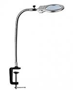 Лупа настольная 2x/5x-130мм на струбцине с подсветкой (2 LED) Kromatech MG15124-C для чтения и рукоделия