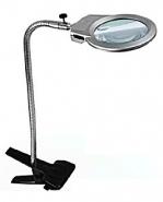 Лупа настольная 2x/6x-90мм на прищепке с подсветкой (2 LED) Kromatech MG15120-A для чтения и рукоделия
