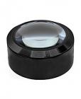 Лупа настольная контактная 5x-70мм с подсветкой (3 LED) черная без ручки Kromatech