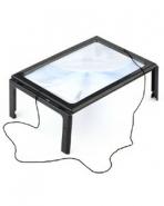 Лупа линза Френеля настольная 3х (столик на ножках Kromatech) для чтения и рукоделия с подсветкой (4 LED)
