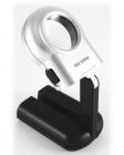 Лупа ручная круглая 16x-30мм для чтения с подсветкой (2 LED, черно-серебристая трансформер) Kromatech TH-7006A