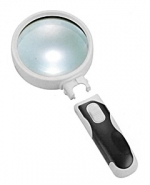 Лупа ручная круглая 6x-65мм для чтения с подсветкой (2 LED, черно-белая) Kromatech 77365B