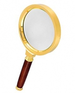 Лупа ручная круглая 6х-80мм для чтения в золотистой оправе Kromatech