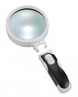Лупа ручная круглая 10x-50мм для чтения с подсветкой (2 LED, черно-белая) Kromatech 77350B