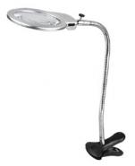 Лупа настольная 2x/5x-130мм на прищепке с подсветкой (2 LED) Kromatech MG15122-1C для чтения и рукоделия