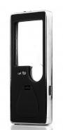 Лупа карманная 3/10x для чтения с подсветкой + ультрафиолет (5 LED, черная) Kromatech TH-7007